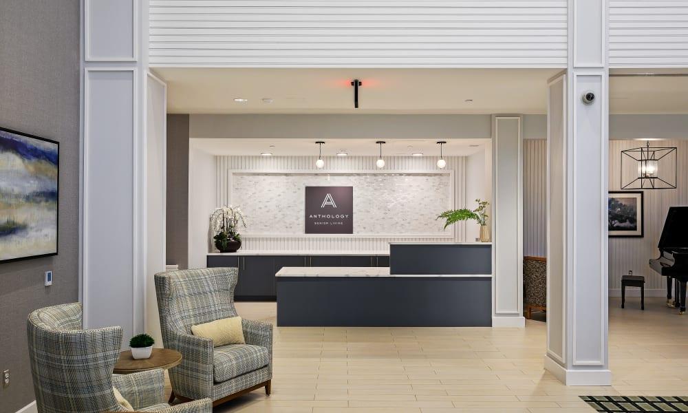Entrance lobby seating at Anthology of Farmington in Farmington, Connecticut