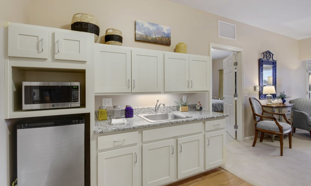 Kitchenette with plenty of cabinets at Keystone Place at Terra Bella in Land O' Lakes, Florida.
