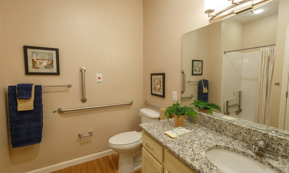 Resident bathroom at Keystone Place at Terra Bella in Land O' Lakes, Florida.