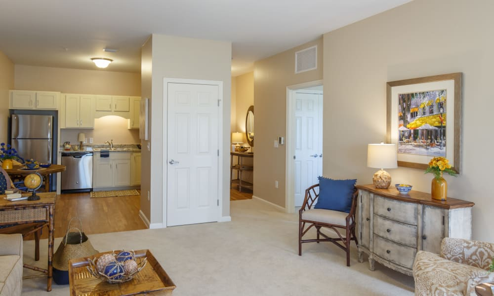 living room and kitchen at Keystone Place at Terra Bella in Land O' Lakes, Florida.