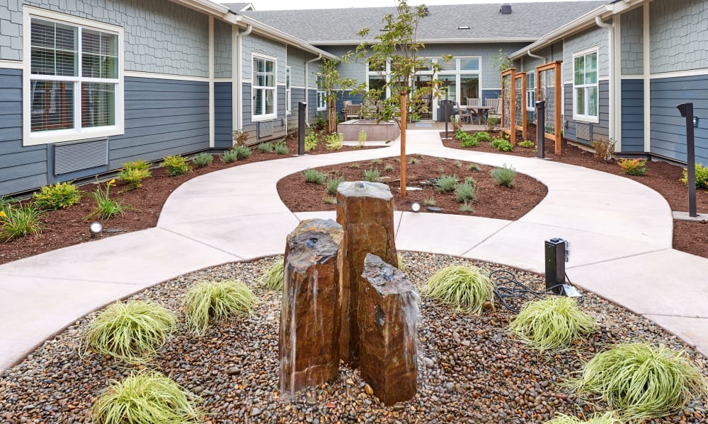 Courtyard fountain at Battle Creek Memory Care in Salem, Oregon