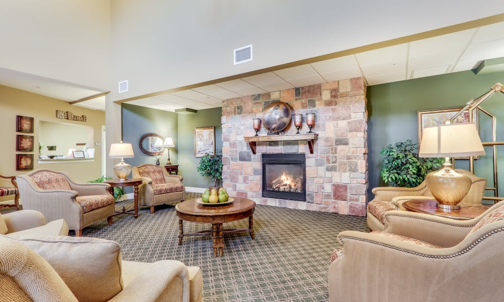 Inviting lobby at Keystone Place at Legacy Ridge in Westminster, Colorado
