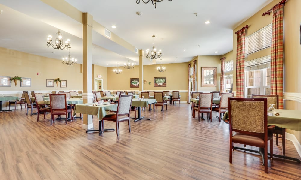 Spacious dining room at Keystone Place at Legacy Ridge in Westminster, Colorado.