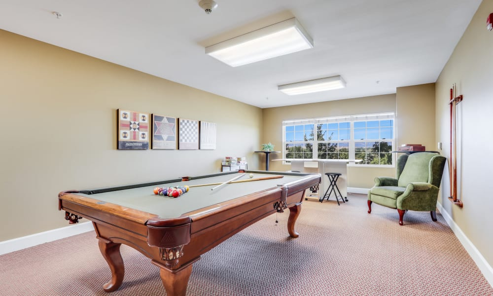 Pool table at Keystone Place at Legacy Ridge in Westminster, Colorado