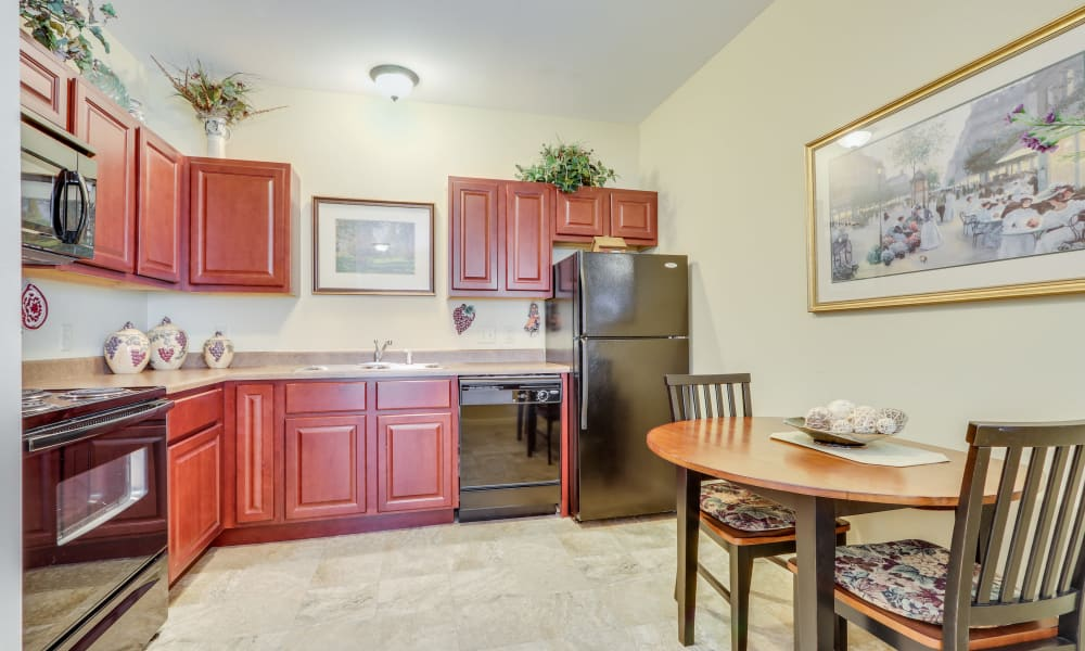 Spacious kitchen at Keystone Place at Legacy Ridge in Westminster, Colorado.