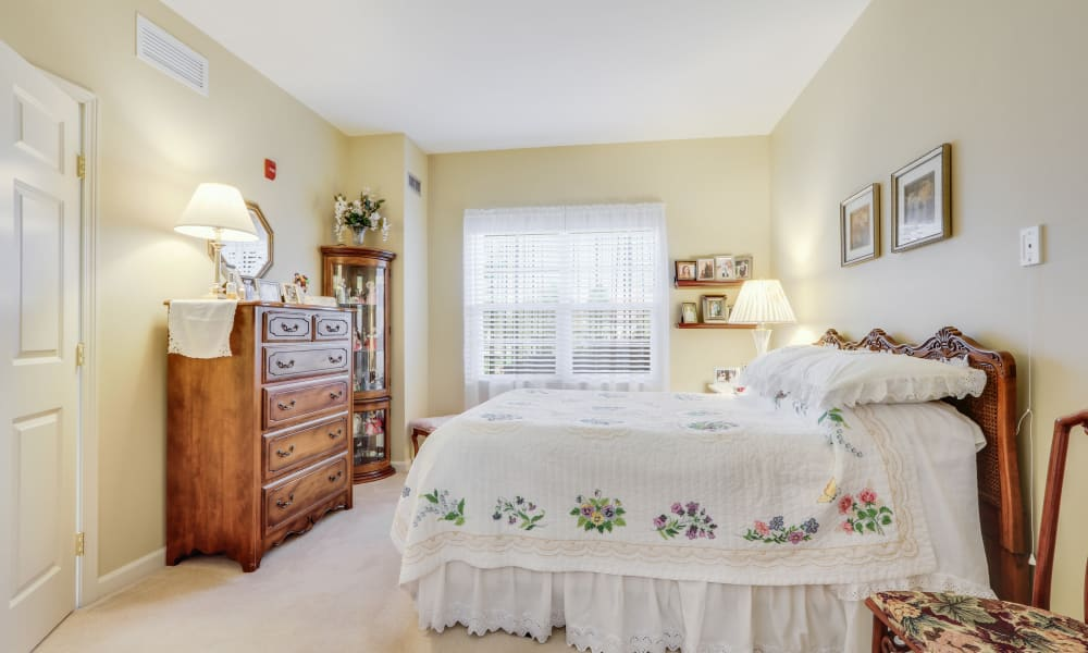 Resident bedroom at Keystone Place at Legacy Ridge in Westminster, Colorado.