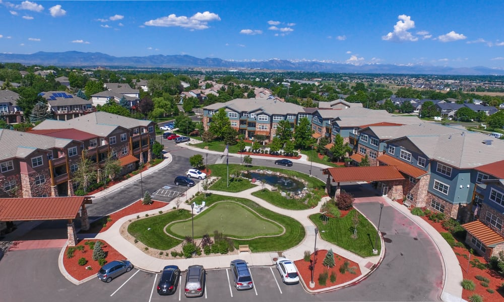 Aerial view of Keystone Place at Legacy Ridge community in Westminster, Colorado