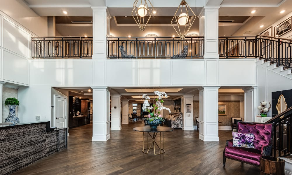 Lobby with hardwood floors at Anthology of Meridian Hills in Indianapolis, Indiana.