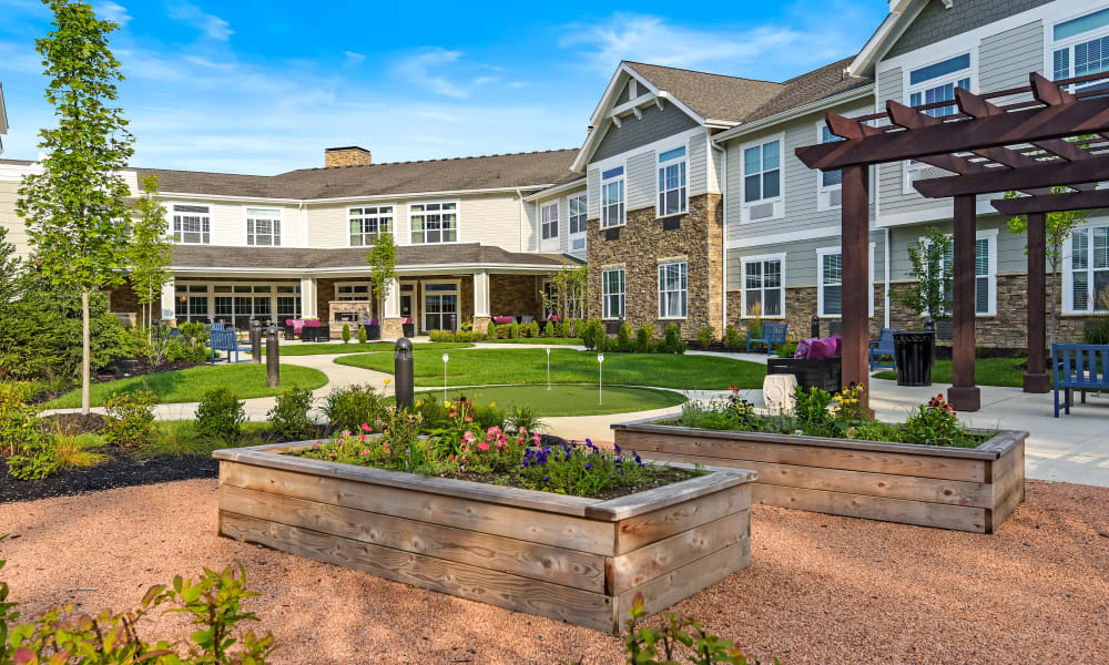 Lush courtyard with greenery at Anthology of Meridian Hills in Indianapolis, Indiana.