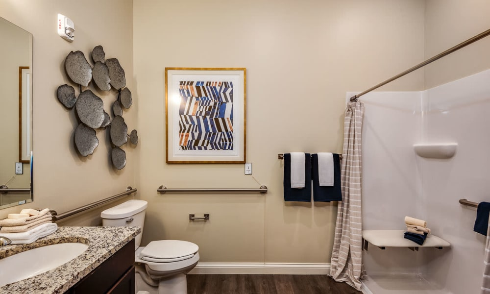Resident bathroom at Anthology of Meridian Hills in Indianapolis, Indiana.