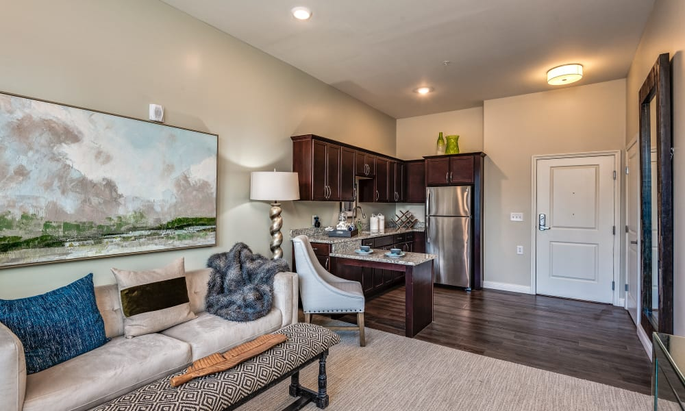 Resident living room and kitchenette at Anthology of Meridian Hills in Indianapolis, Indiana.