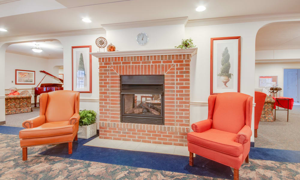 Fireside seating at Brentwood at LaPorte in La Porte, Indiana