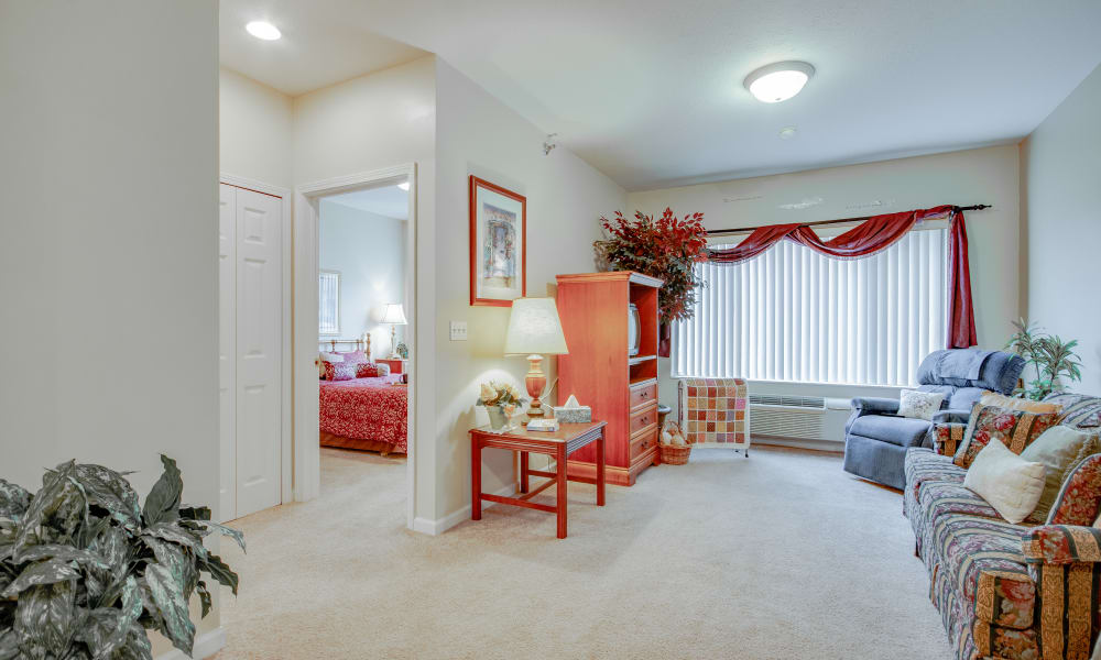 Multi-room living space at Brentwood at LaPorte in La Porte, Indiana