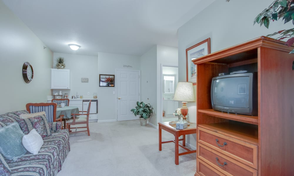 Apartment living room with a tv at Brentwood at LaPorte in La Porte, Indiana