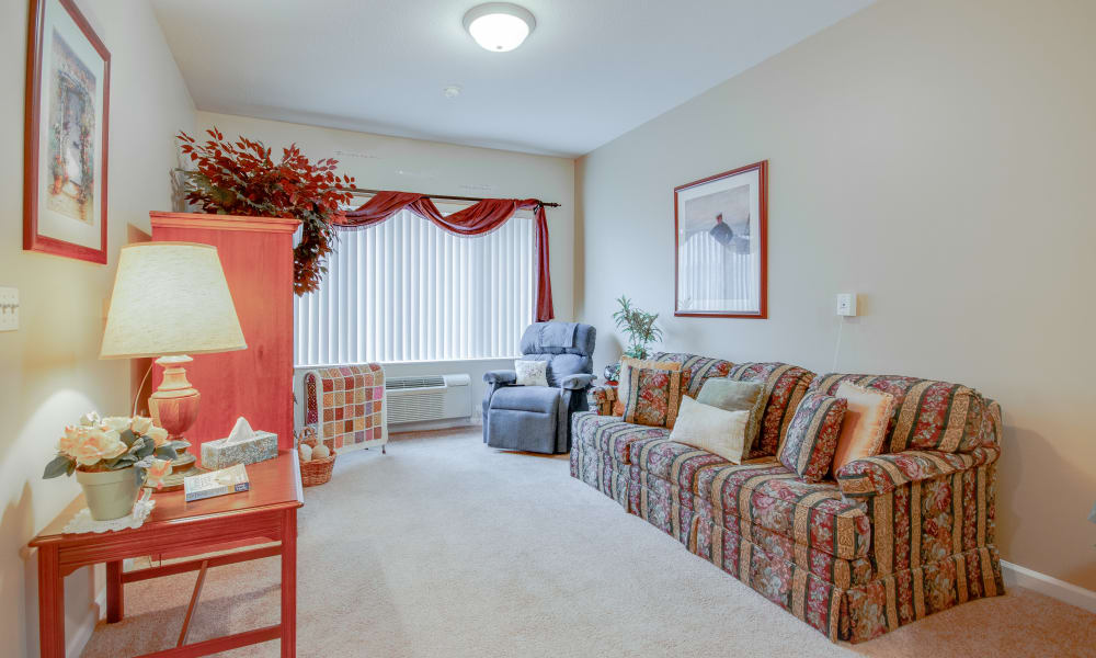 Apartment living room at Brentwood at LaPorte in La Porte, Indiana