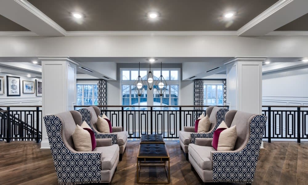 Community seating area at Anthology of Meridian Hills in Indianapolis, Indiana