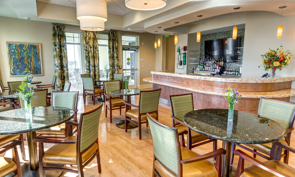 Cafe and bar at The Meridian at Waterways in Fort Lauderdale, Florida