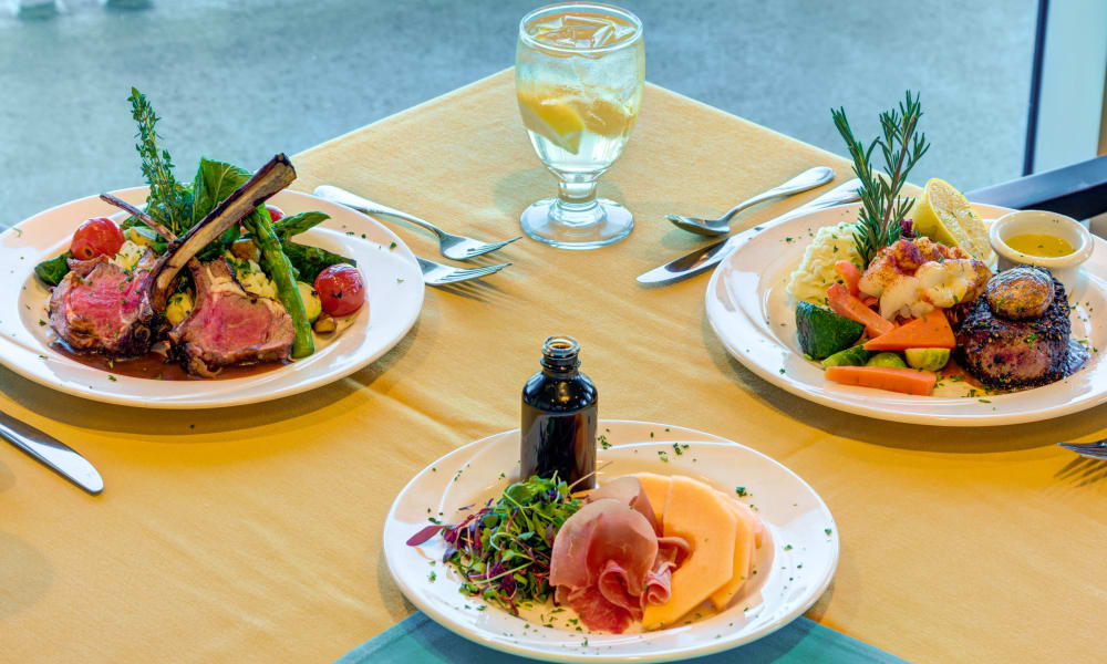 Three examples of the kinds of meals at The Meridian at Waterways in Fort Lauderdale, Florida