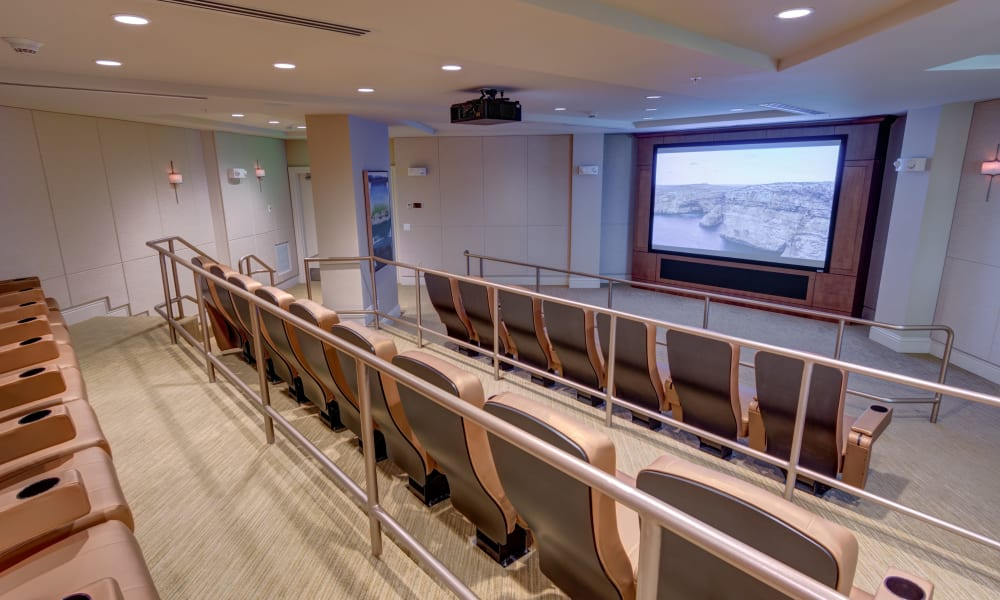 on-site theater at The Meridian at Waterways in Fort Lauderdale, Florida