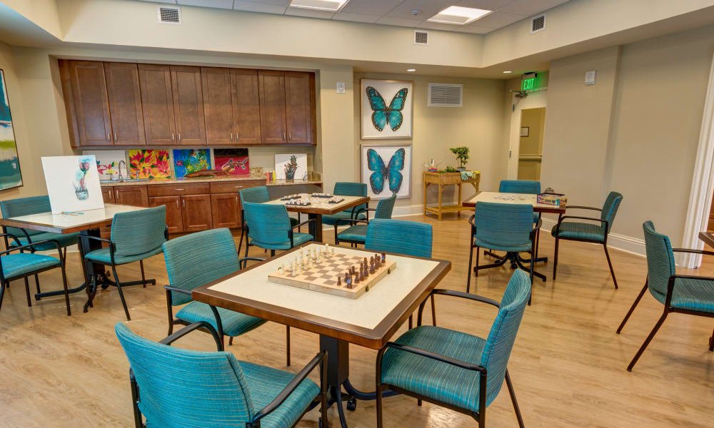 activity room at The Meridian at Waterways in Fort Lauderdale, Florida