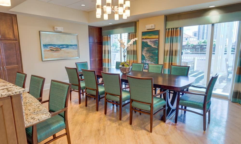 Family dining room at The Meridian at Waterways in Fort Lauderdale, Florida