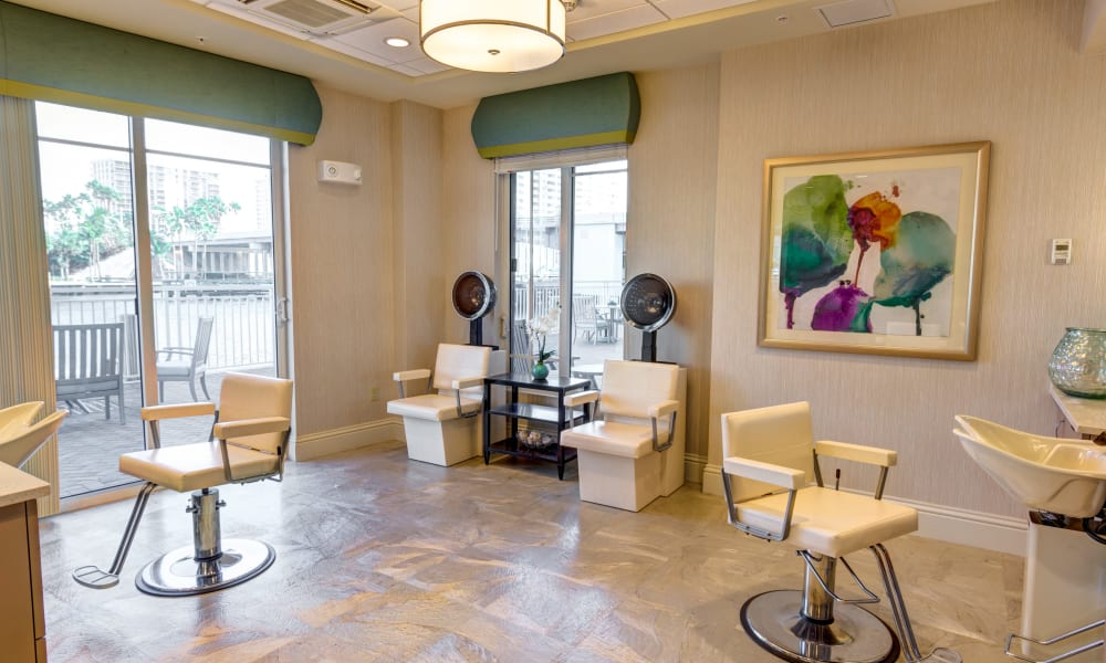 On-site hair salon at The Meridian at Waterways in Fort Lauderdale, Florida