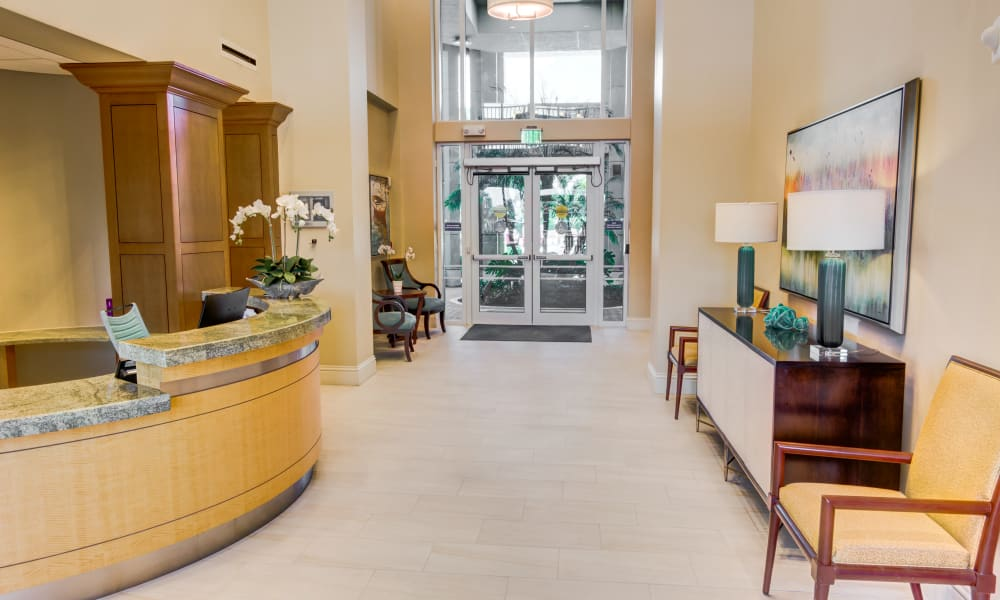 Entrance and reception at The Meridian at Waterways in Fort Lauderdale, Florida