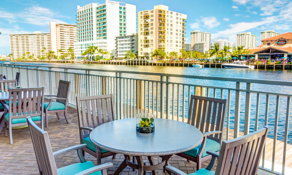 Waterfront seating outside at The Meridian at Waterways in Fort Lauderdale, Florida