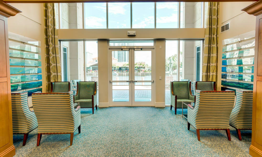 Main entrance and foyer to The Meridian at Waterways in Fort Lauderdale, Florida