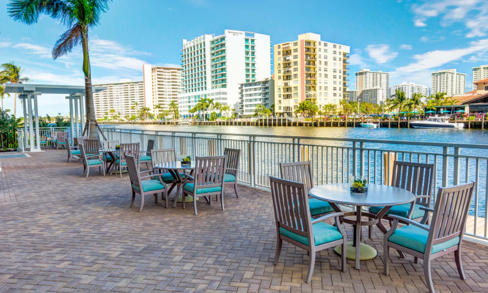 Beautiful view of the city on the water at The Meridian at Waterways in Fort Lauderdale, Florida