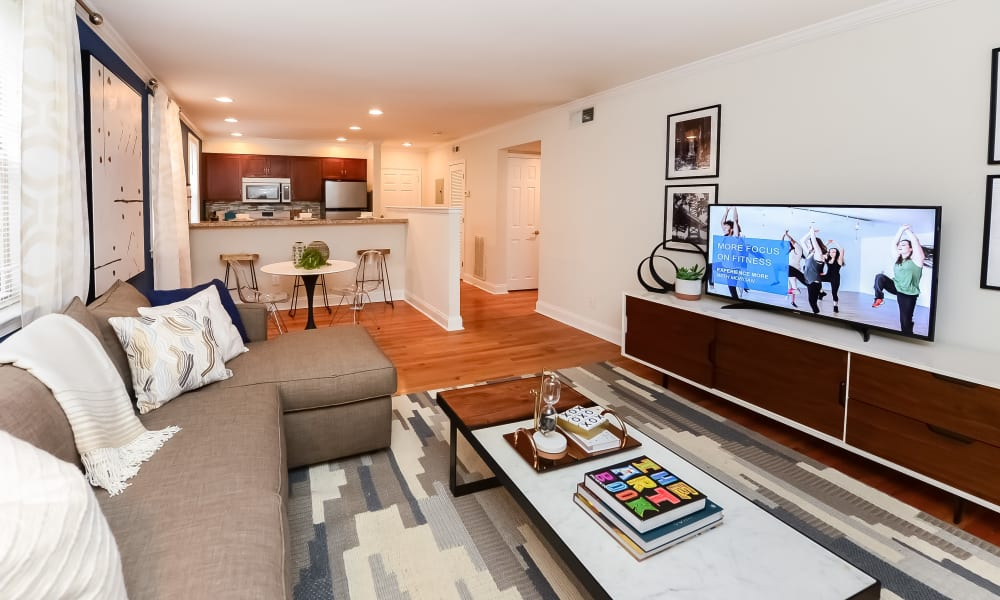 Relax and watch TV in the living room at The Villas at Bryn Mawr Apartment Homes