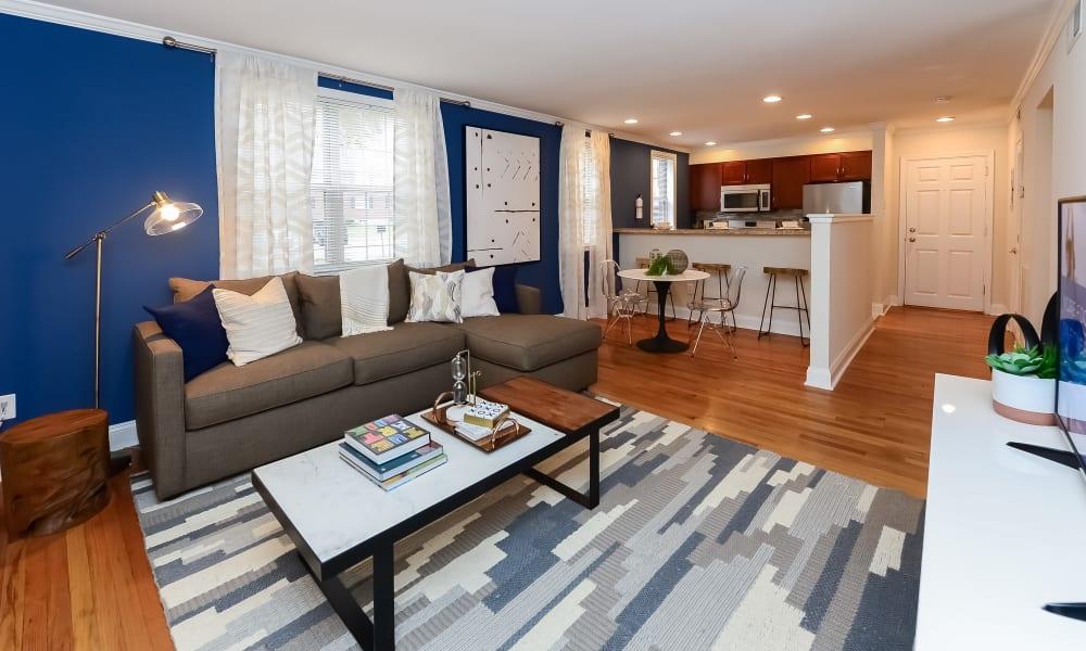 Spacious living room at The Villas at Bryn Mawr Apartment Homes