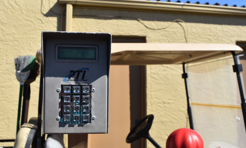 Keypad to gated entry at AAA Alliance Self Storage in Tempe, Arizona