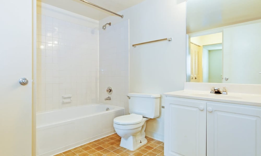 Tiled shower and a large vanity mirror in a model home's bathroom at The Chimneys of Cradlerock Apartments in Columbia, Maryland