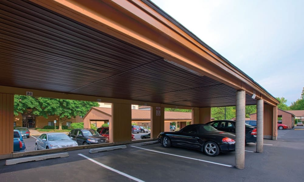Covered parking at The Chimneys of Cradlerock Apartments in Columbia, Maryland