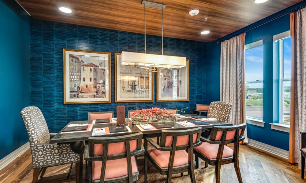 Private dining area for residents at Anthology of Clayton View in Saint Louis, Missouri