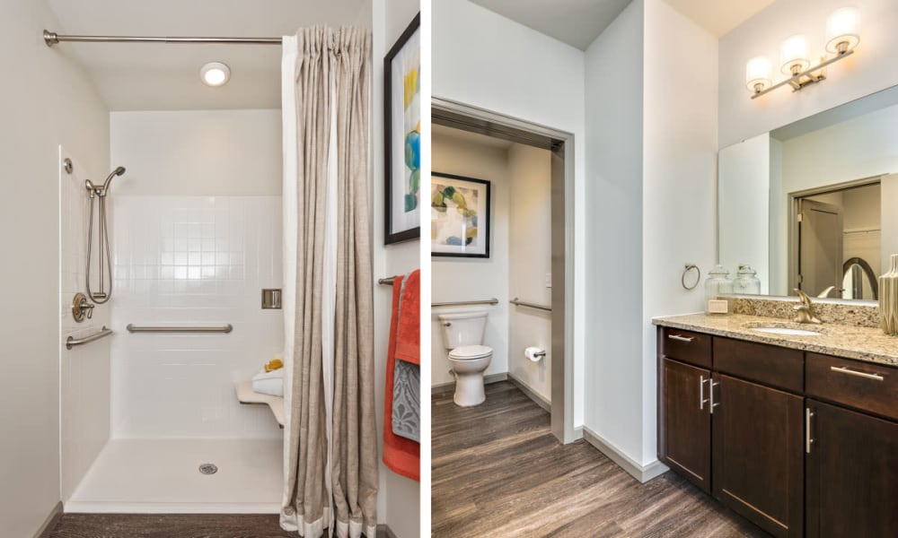 Spacious Resident bathroom at Anthology of Clayton View in Saint Louis, Missouri.