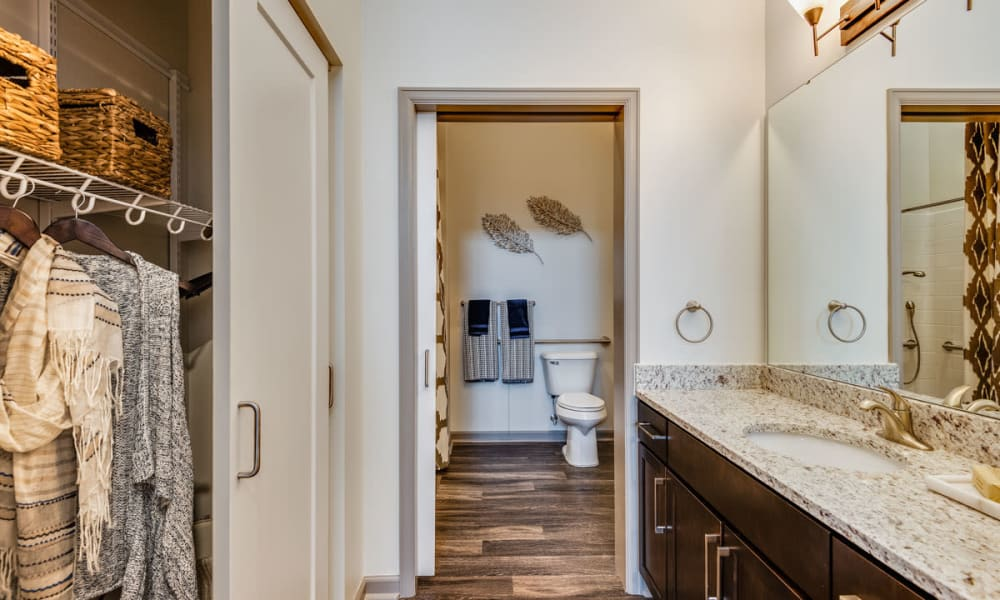 Large bathroom with closet space at Anthology of Town and Country in Town and Country, Missouri.
