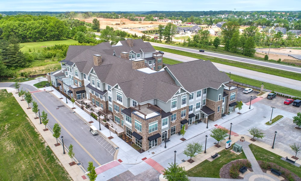 Aerial view of Anthology of Wildwood's community in Wildwood, Missouri.