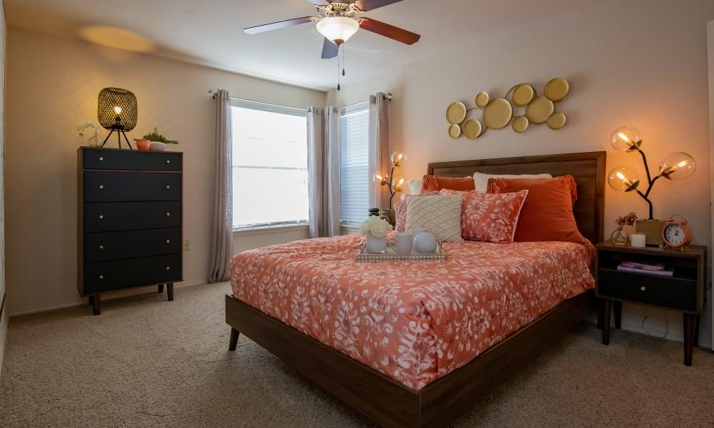 An apartment bedroom at Nickel Creek Apartments in Tulsa, Oklahoma