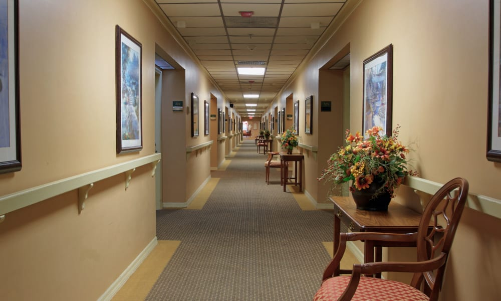 A bright hallway at Bayside Terrace in Pinellas Park, Florida