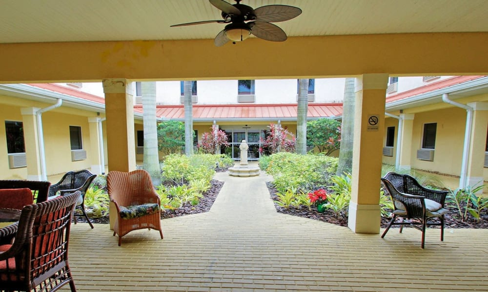 A open and airy patio space at Balmoral Assisted Living in Lake Placid, Florida