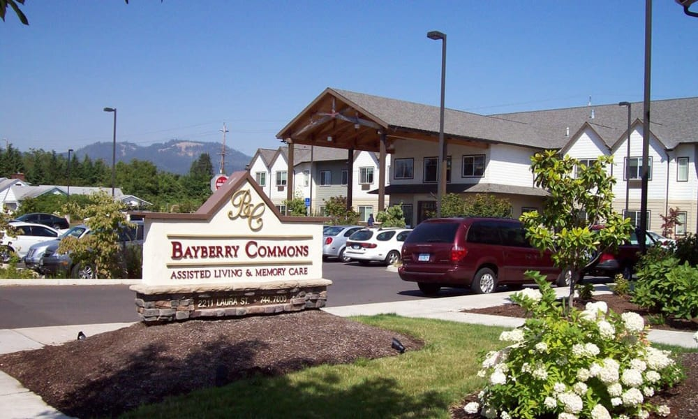 Branding and signage in front of Bayberry Commons in Springfield, Oregon