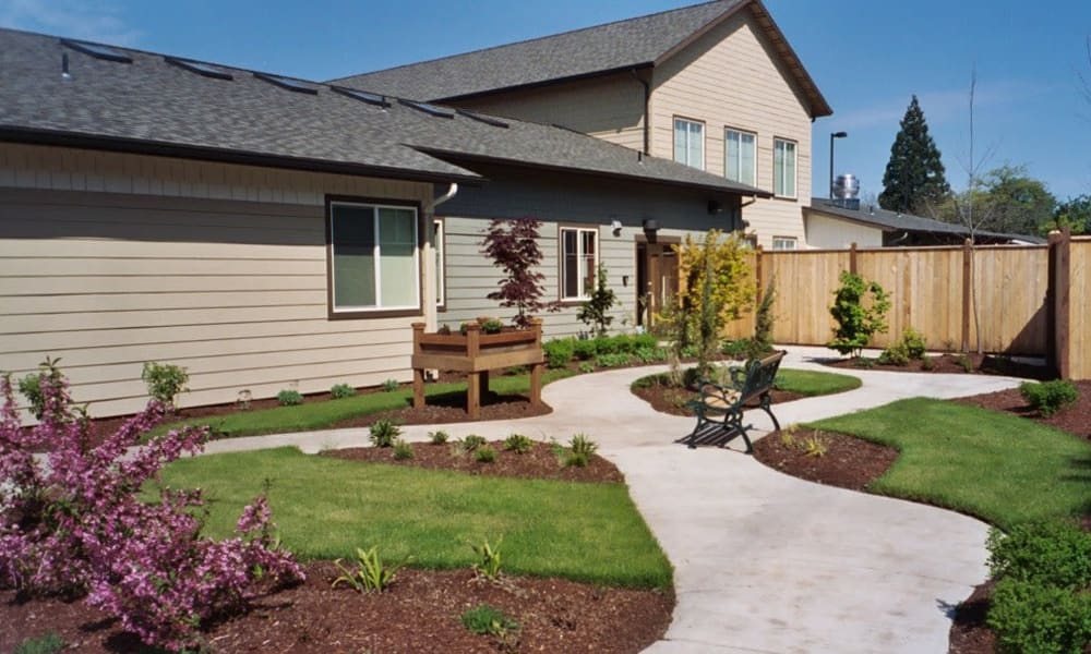 Paved walkway around the courtyard at Bayberry Commons in Springfield, Oregon