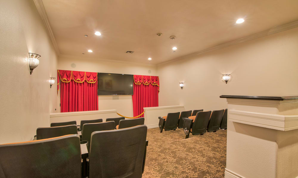 Movie viewing room at Pelican Bay in Beaumont, Texas