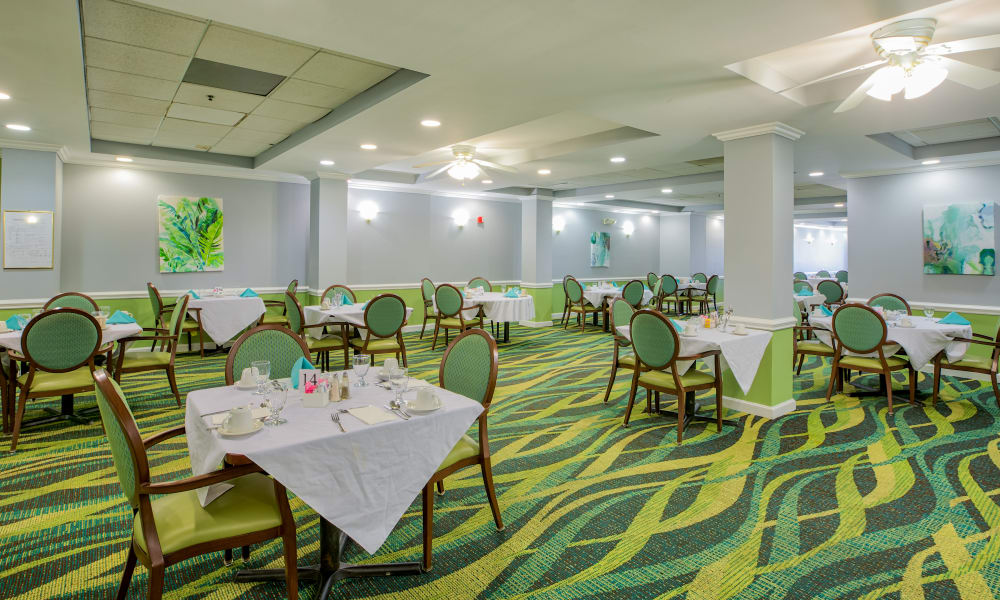 Vibrant carpeting inside of the dining room at The Peninsula in Hollywood, Florida