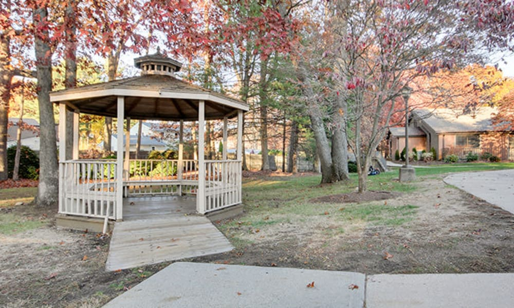 A charming community gazebo at Smithfield Woods in Smithfield, Rhode Island