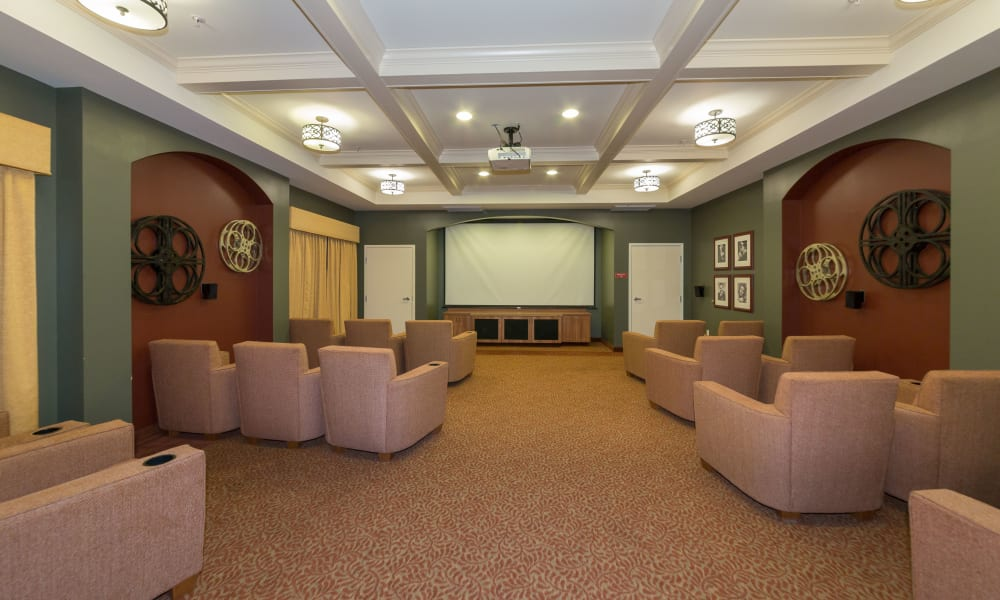 Movie viewing room at The Reserve at East Longmeadow in East Longmeadow, Massachusetts