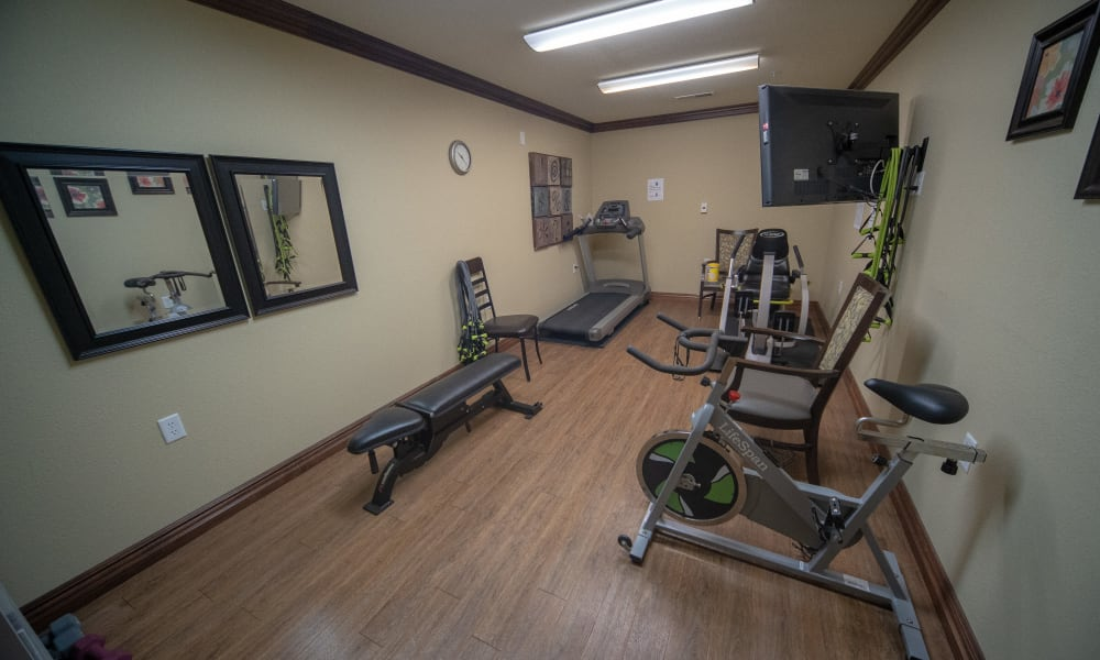 Fitness center at Villas of Holly Brook Herrin in Carterville, Illinois