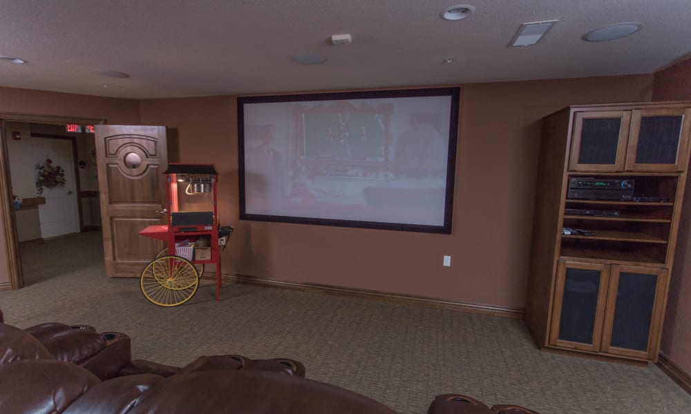 Spacious Onsite movie theater at Villas of Holly Brook Shelbyville in Shelbyville, Illinois